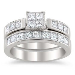 14k White Gold 2ct TDW Certified Multi Stone Princess Cut Diamond Bridal Set (G-H, I1)