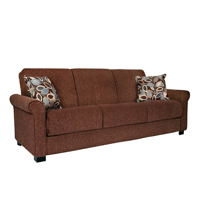 rio convert a couch brown chenille rolled arm futon sofa sleeper
