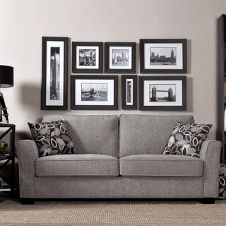Portfolio Tara Gray Chenille Sofa with Brown Modern Leaf Accent Pillows