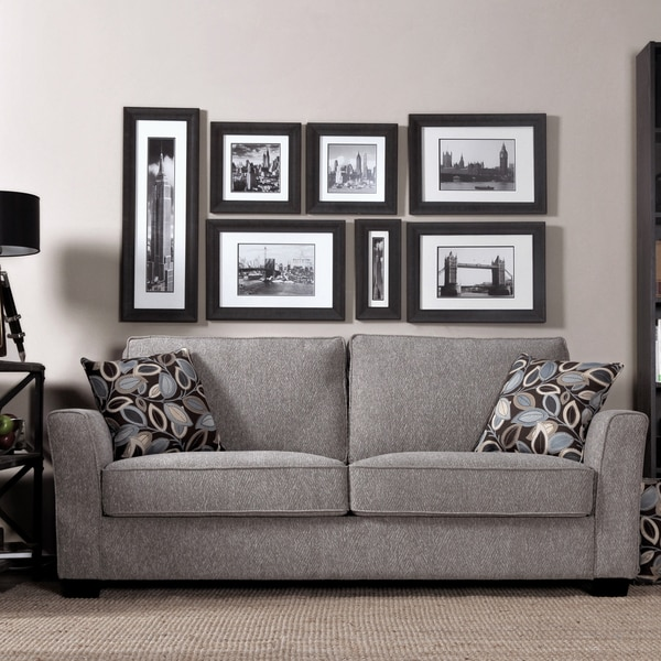 Portfolio Tara Sandy Gray Chenille Sofa with Brown Modern Leaf Accent Pillows