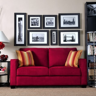 Portfolio Madi Crimson Red Microfiber Sofa with Wine Striped Accent Pillows