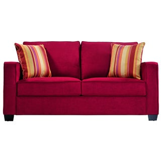 Portfolio Madi Crimson Red Microfiber Sofa with Wine Striped Accent Pillows