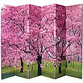 Canvas 6-foot Double-sided Cherry Blossoms Room Divider (China)
