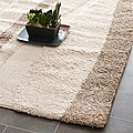 Hand-woven Ultimate Cream/ Dark Brown Shag Rug (4' x 6')