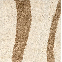 Safavieh Willow Cream Background and Dark Brown Shag Rug (5'3 x 7'6)