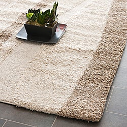 Hand-woven Ultimate Cream/ Dark Brown Shag Rug (5'3 x 7'6)