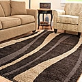 Hand-woven Ultimate Dark Brown/ Cream Shag Rug (4' x 6')