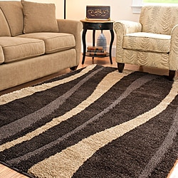 Safavieh Hand-woven Ultimate Dark Brown/ Cream Shag Rug (5'3 x 7'6)