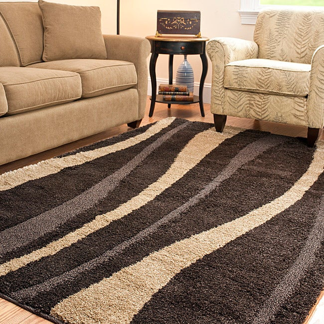 Safavieh hand woven ultimate dark brown cream shag rug 8 for Living room rugs 8 by 10