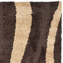 Safavieh Hand-woven Ultimate Dark Brown/ Cream Shag Rug (8' x 10')