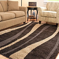 Hand-woven Ultimate Dark Brown/ Cream Shag Rug (8' x 10')