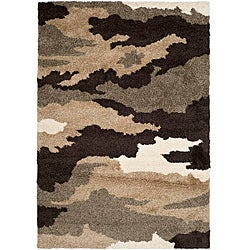 Safavieh Hand-woven Ultimate Beige/ Brown Shag Rug (5'3 x 7'6)