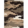 Hand-woven Ultimate Beige/ Brown Shag Rug (5'3 x 7'6)