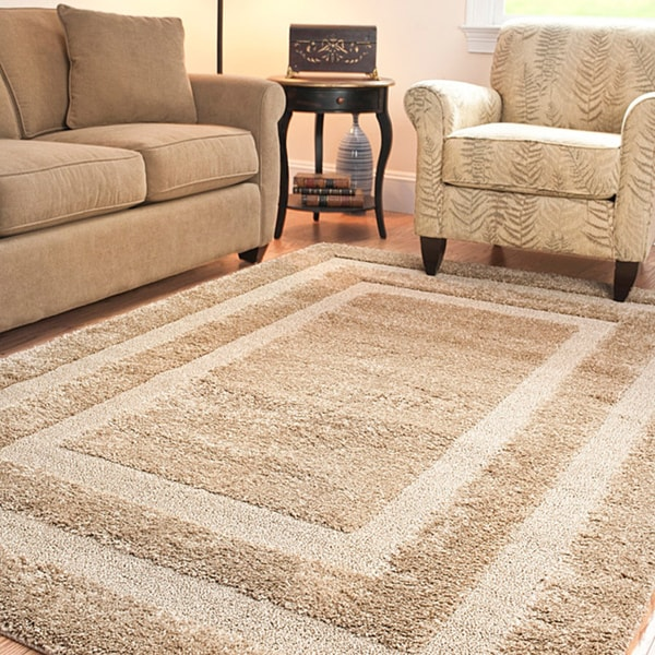 Safavieh Hand-woven Ultimate Beige Shag Rug (5'3 x 7'6)
