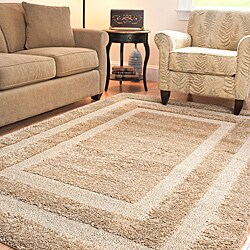 Hand-woven Ultimate Beige Shag Rug (8' x 10')