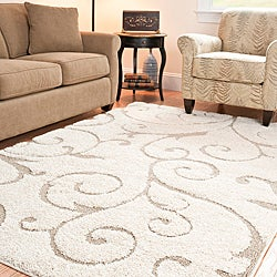 Ultimate Cream/Beige Geometric Shag Rug (4' x 6')