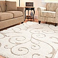 "Ultimate Cream/Beige Shag Area Rug (5'3"" x 7'6"")"