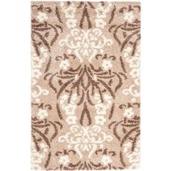 Ultimate Beige/Cream Shag Area Rug (5'3 x 7'6)