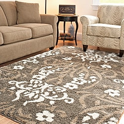 Ultimate Smoke/Beige Shag Area Rug (5'3
