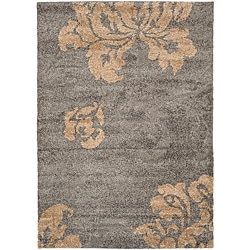 Ultimate Dark Grey/Beige Floral Shag Rug (8' x 10')