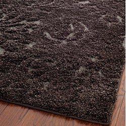 Ultimate Dark Brown/Smoke Shag Area Rug (5'3 x 7'6)