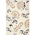 Ultimate Cream/ Dark Brown Shag Rug (4' x 6')
