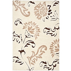 Safavieh Ultimate Cream/ Dark Brown Shag Rug (8' x 10')