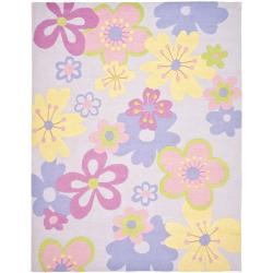 Handmade Children's Daisies Violet New Zealand Wool Rug (6' x 9')
