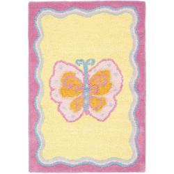 Safavieh Handmade Children's Butterfly Yellow N. Z. Wool Rug (2' x 3')