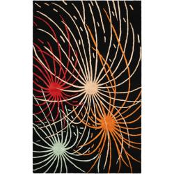 Handmade Soho Fireworks Black New Zealand Wool Rug (3'6 x 5'6')