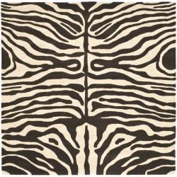 Handmade Soho Zebra Print Black/ Ivory N. Z. Wool Rug (6' Square)