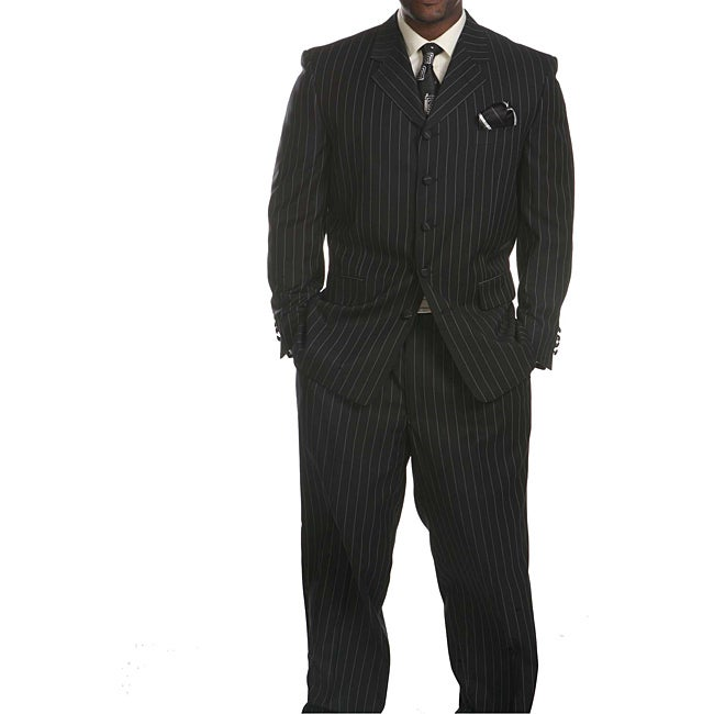 Savile Row Men's Black Stripe Suit