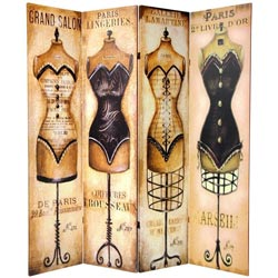 Wood and Canvas 6-foot Double-sided Cabaret Room Divider (China)