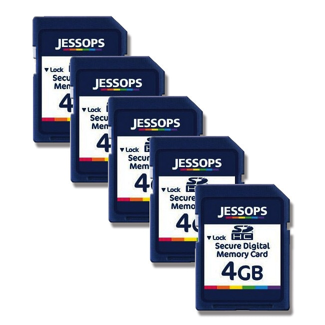 Jessops 4GB SDHC Memory Card (Pack of 5)