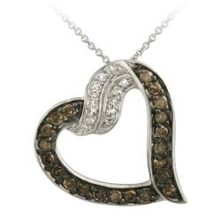 Glitzy Rocks Silver 1/2ct TDW Brown Diamond and White Topaz Heart Necklace