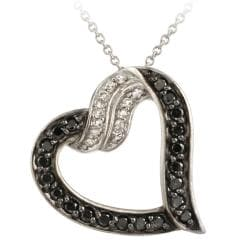 Glitzy Rocks Silver 1/2ct TDW Black Diamond and White Topaz Heart Necklace