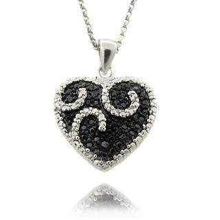 Finesque Sterling Silver 1/4ct TDW Black/ White Diamond Heart Necklace (I-J, I2-I3)