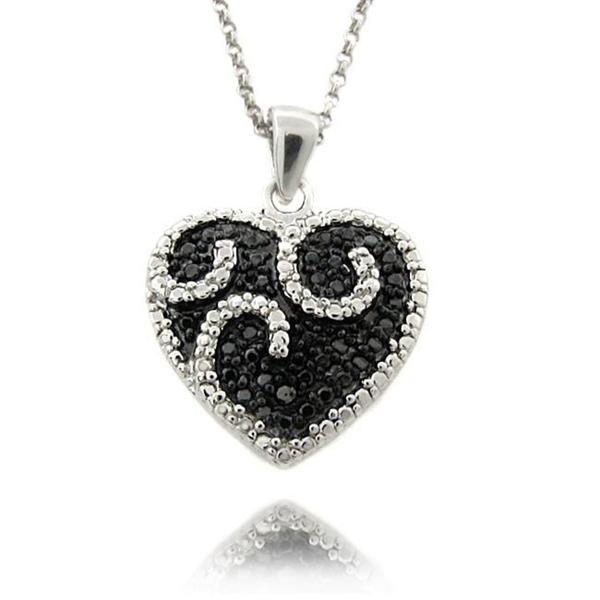 Finesque Sterling Silver 1/4ct TDW Black/ White Diamond Heart Necklace (I-J, I2-I3)