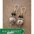 Classic Silver and Porcelain Vintage Peach Crystal Earrings