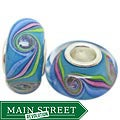 Murano Inspired Glass Blue/Pink/Green/White Charm Beads (Set of 2)