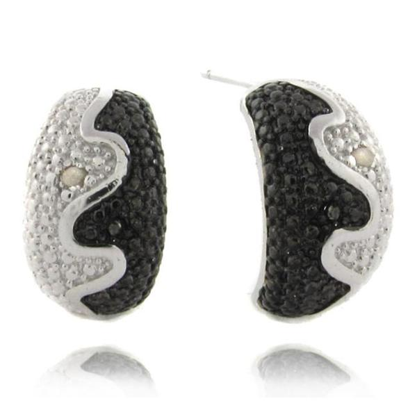 Finesque Sterling Silver Black and White Diamond Accent Half-hoop Earrings
