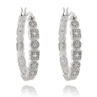 Finesque Sterling Silver Diamond Accent Circle and Square Design Hoop Earrings