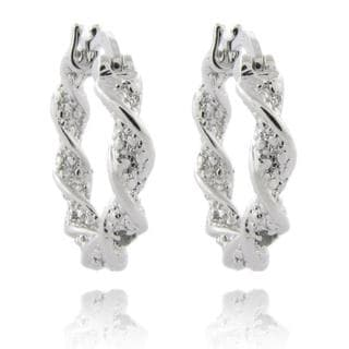 Finesque Sterling Silver Diamond Accent Twisted Hoop Earrings