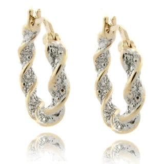 Finesque 18k Gold over Sterling Silver Diamond Accent Twisted Hoop Earrings