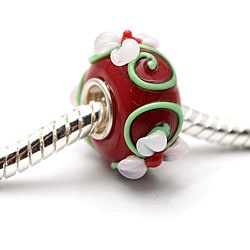 Murano Inspired Glass Red/ Green/ Pink Flower Charm Beads (Set of 2)