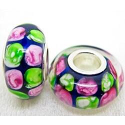 Murano Inspired Glass Dark Blue/ Pink/ Green Charm Bead (set of 2)