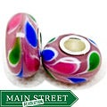 Murano Inspired Glass Blue/ Green/ Pink Petals Charm Beads (Set of 2)