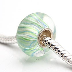 Murano Inspired Glass Blue, Green and White Charm Beads (Set of 2)