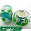 Murano Inspired Glass Blue/Green/White Swirl Charm Beads (Set of 2)