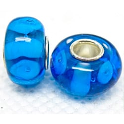 Murano Inspired Glass Cobalt and Light Blue Charm Beads (Set of 2)